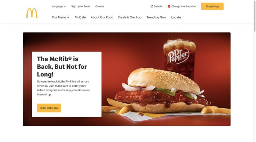 McDonald's shows off its popular McRib sandwich on the homepage of its site.