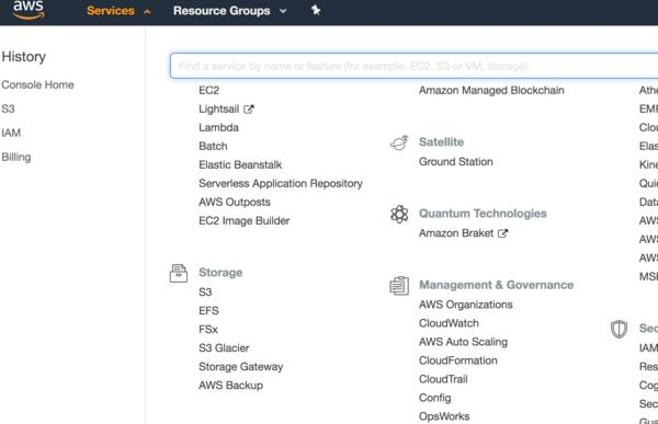 AWS Management Console | Search -> S3