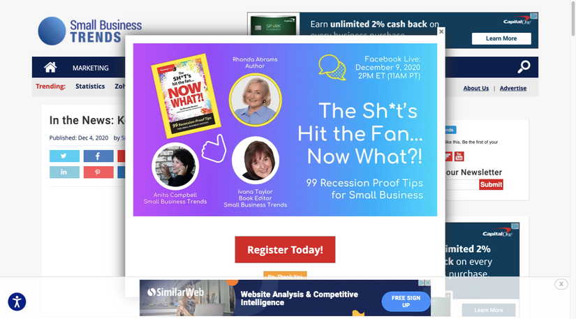 Small Business Trends displays a recession-related pop-up the second someone enters the website.