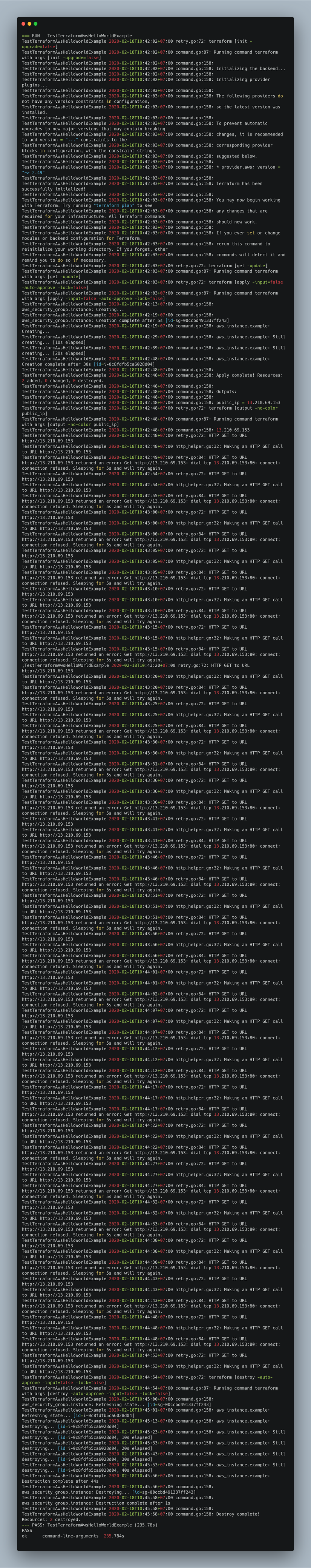 Unit Test Console With Terratest