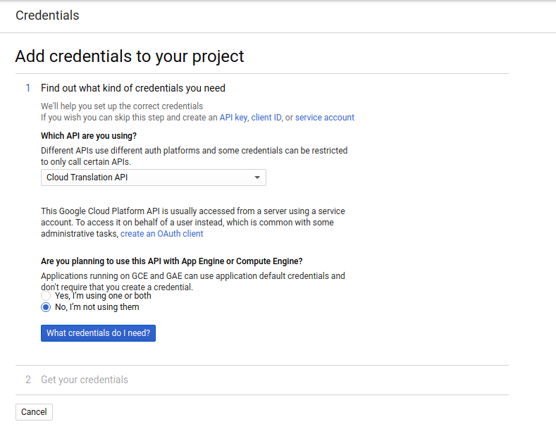 add credential to project