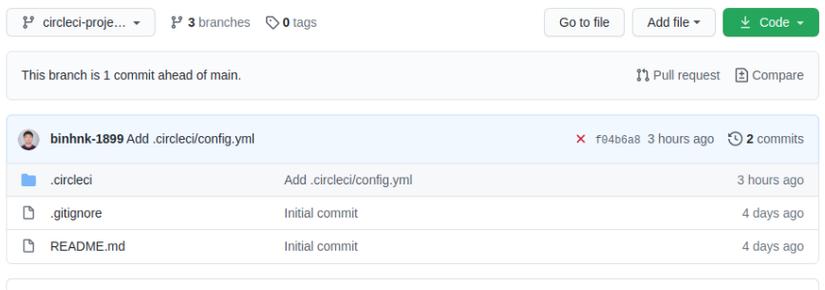 Branch circleci-project-setup được CircleCI tạo cho project: