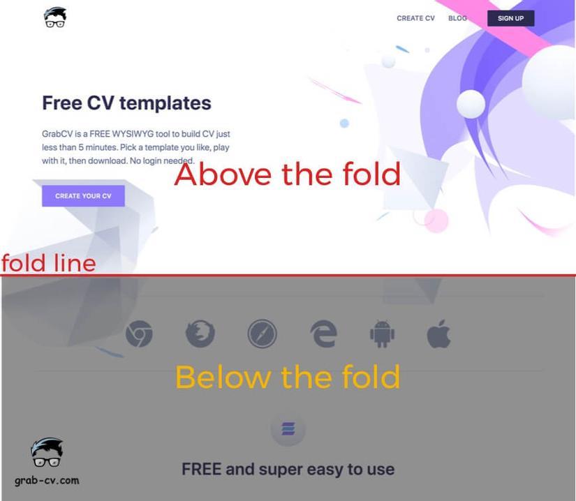 GrabCV - above the fold