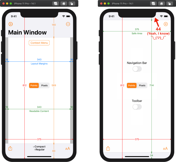 Xcode 12.1 build of Adaptivity on iPhone 11 Pro running iOS 14.1 in landscape