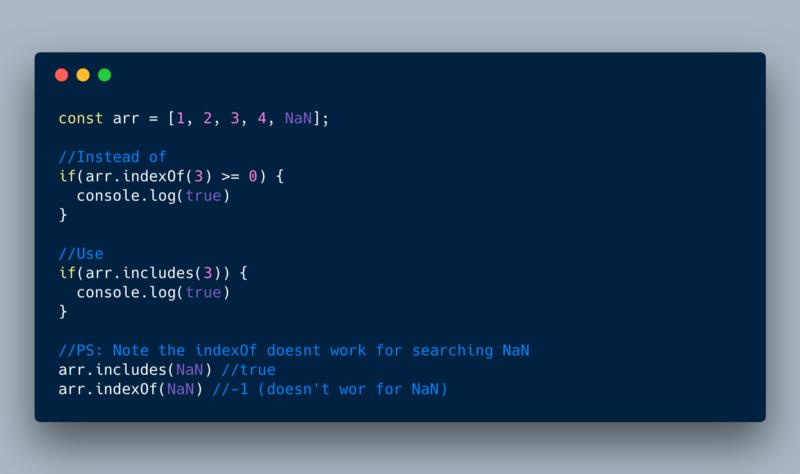ECMAScript 2016 or ES7—Array.prototype.includes()