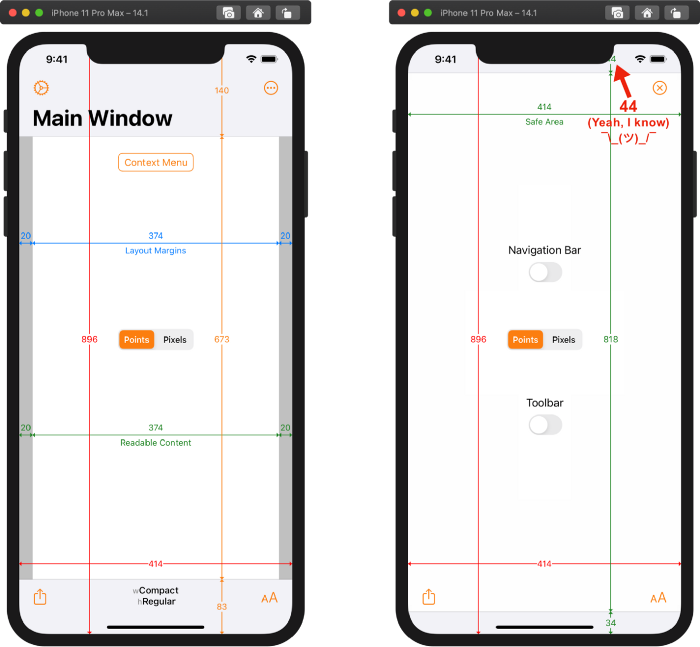 Xcode 12.1 build of Adaptivity on iPhone 11 Pro Max running iOS 14.1 in portrait
