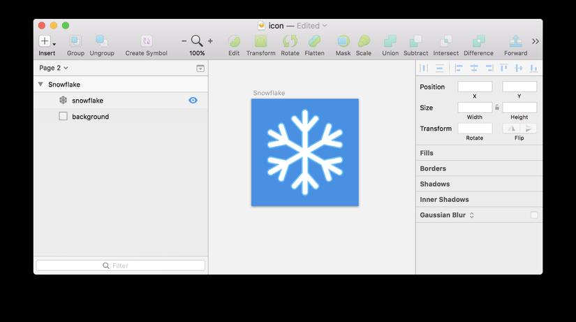 Một icon vector đơn giản trên artboard trong Sketch.